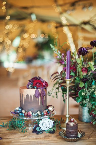 Martha and The Meadow Autumn Flowers Wedding Cake Decoration Image by Darima Frampton Photography