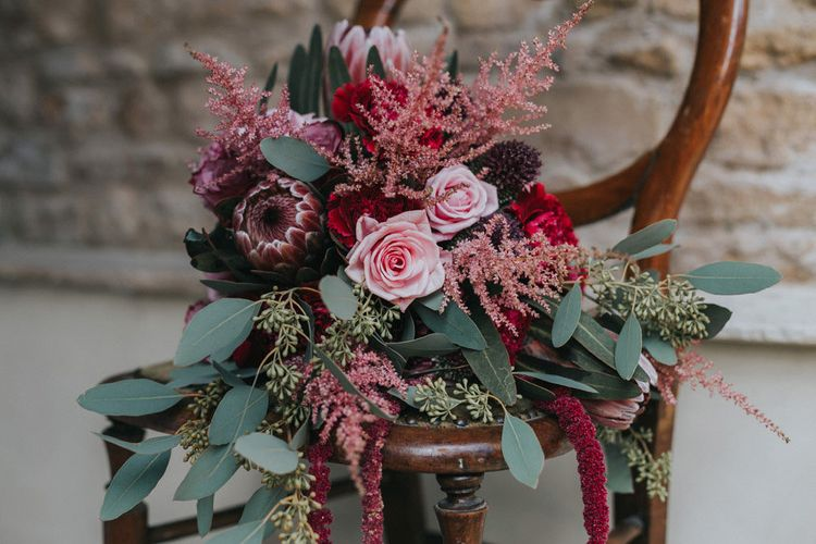 Rebel and The Rose Red Burgundy Autumnal Wedding Bouquet Image By The Oobaloos