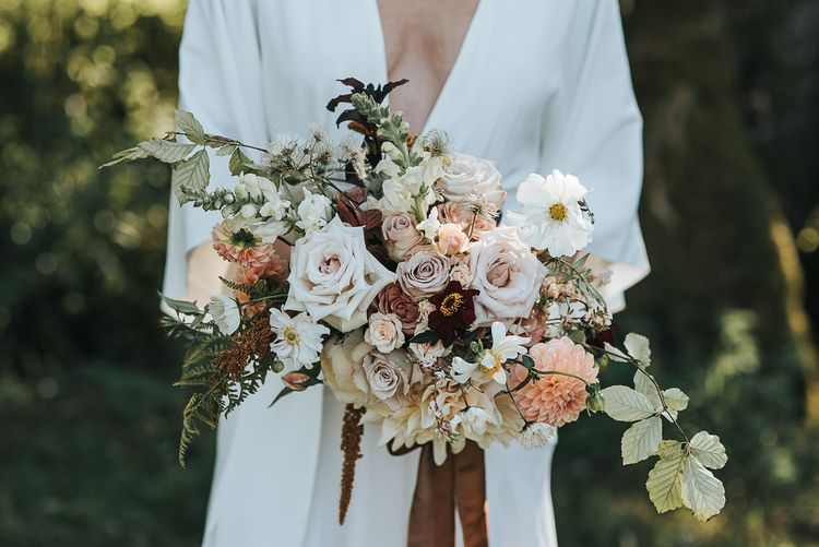 Muted Autumn Wedding Bouquet by Fig and Fern Image by Natalie Hewitt
