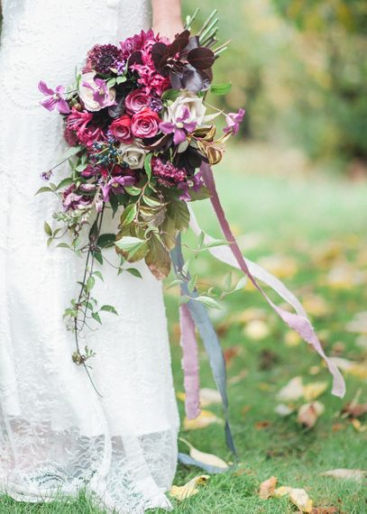 Ribbon Tied Purple Autumn Wedding Bouquet by Martha in the Meadow Image by Darima Frampton