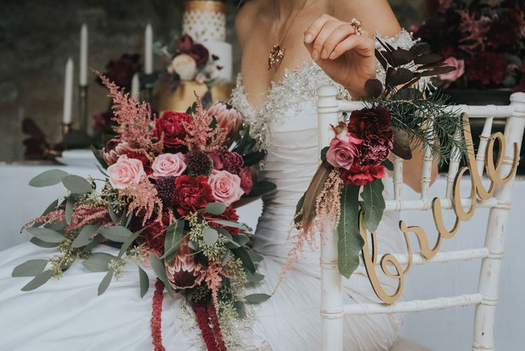 Pink and Red Bridal Bouquet by Rebel and the Rose Image By Oobaloos