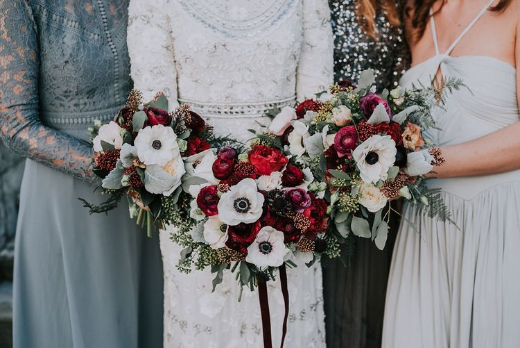 Burgundy Bouquets with Anemone By Daisy Ellen Floral Design Image by Kim Williams