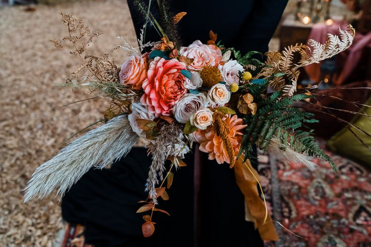Coral and Orange Wedding Bouquet with Dried Grasses and Foliage
