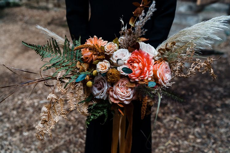 Autumnal Wedding Bouquet with Pampas Grass,  Dried Grasses, Foliage and Coral Roses