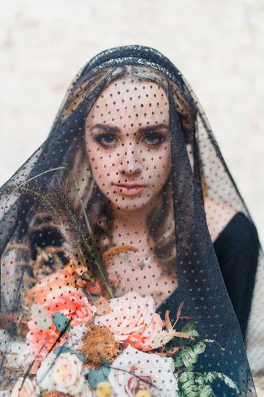 Bride in Black Polka Dot Wedding Veil