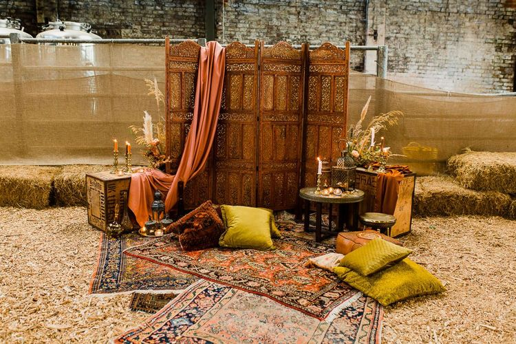 Altar with Moroccan Screen, Rugs and Cushions