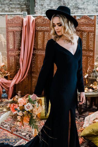 Alternative Bride in Black wedding Dress and Fedora Bridal Hat