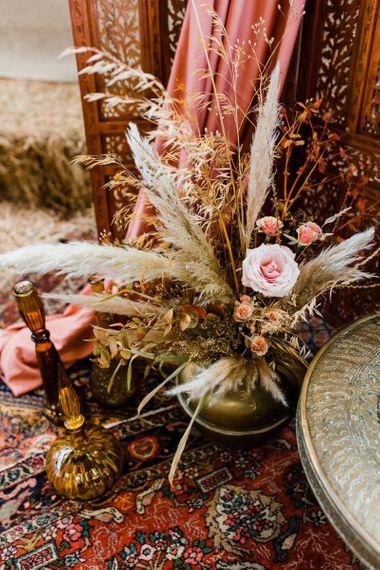 Dried Grass and Pink Flower Arrangement Wedding Decor