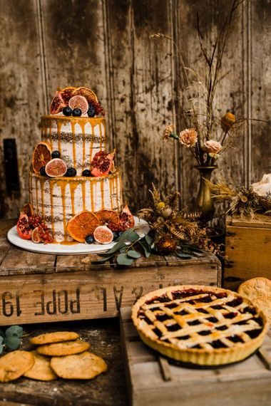 Rustic Wedding Cake and Pie for Autumnal Wedding Dessert Table