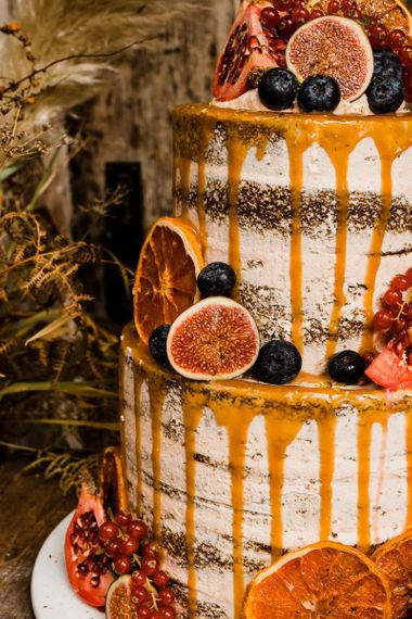 Figs and Berries Decorated Wedding Cake