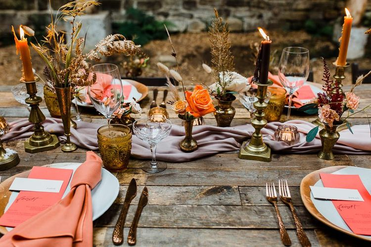 Autumn Wedding Table Decor with Coral Linen, Dried Flowers and Candles