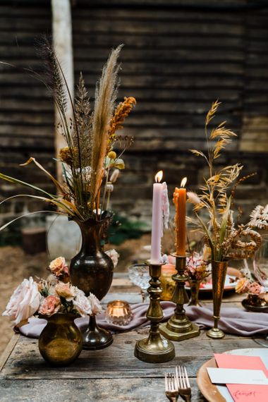 Candlesticks and Vessels with Dried Grasses