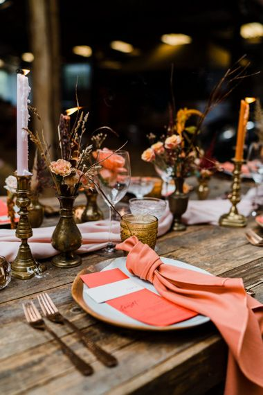Rustic Table Decor with Coral Flowers, Stationery and Napkin