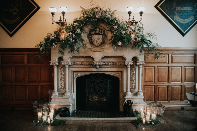 Ornate fireplace at The Elvetham wedding venue in Hampshire