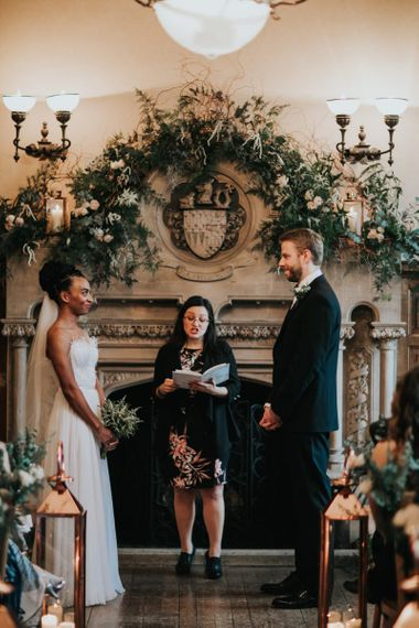 Bride and groom exchange vows at The Elvetham wedding ceremony