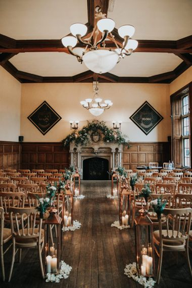 The Elvetham wedding ceremony room with ornate fireplace