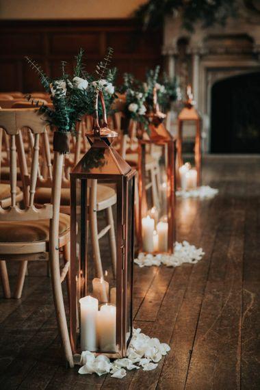 Copper lantern aisle decoration