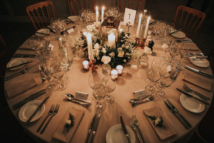 Winter wedding table centrepiece at  The Elvetham