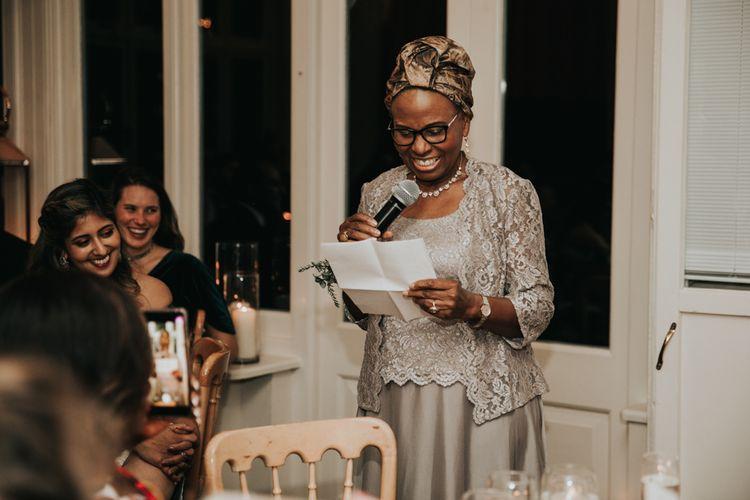 Mother of the bride giving a wedding speech