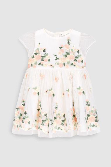 Next Ecru Floral Embridered Dress