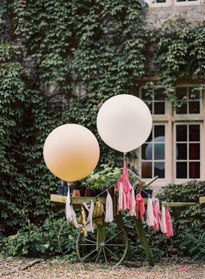 Wedding Cart with Giant Balloons and Tassels Wedding Decor