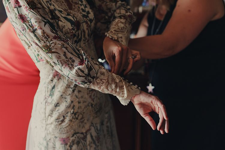 Bride Getting Ready in Floral Print Bespoke Wedding Dress by From Lista With Love