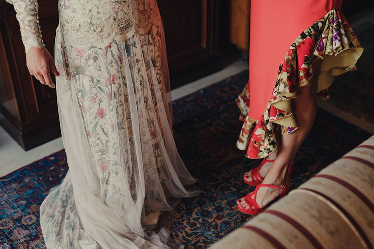 Bride Getting Ready in Floral Print Bespoke Wedding Dress by From Lista With Love with Lace and Tulle Details