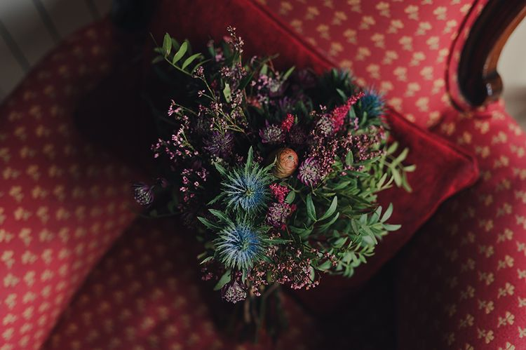 Blue, Red, Pink and Green Wild Wedding Bouquet