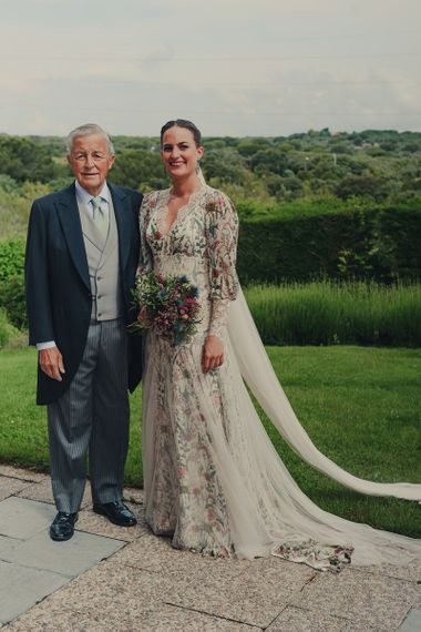 Father of The Bride in Morning Suit and Bride in Floral Print Bespoke Wedding Dress by From Lista With Love