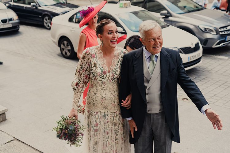 Wedding Ceremony Entrance with Father of The Bride in Morning Suit and Bride in Floral Print Bespoke Wedding Dress by From Lista With Love