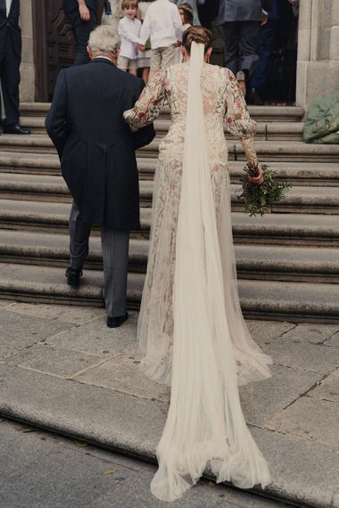 Bridal Entrance in Floral Print Bespoke Wedding Dress by From Lista With Love and Long Wedding Veil