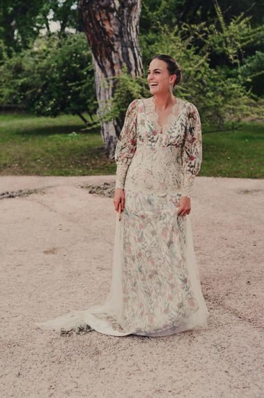 Beautiful Bride in Floral Print Bespoke Wedding Dress by From Lista With Love with Lace and Tulle Detail
