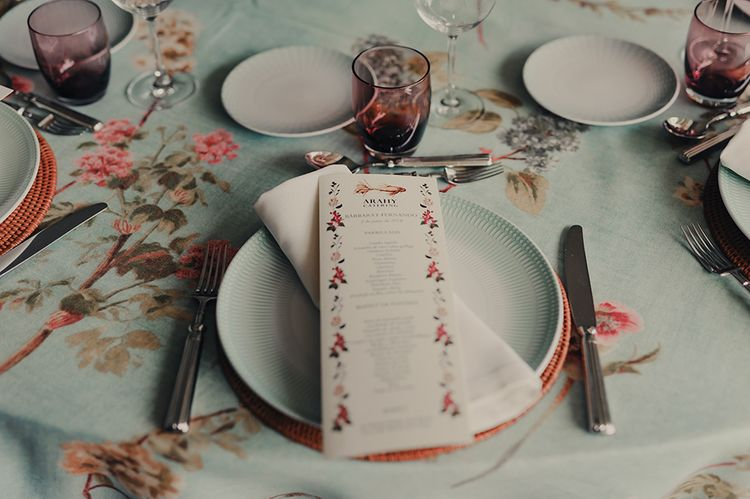 Place Setting with Floral Menu Card