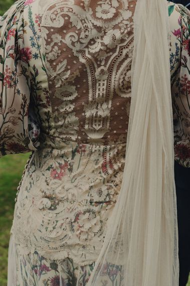 Floral Print and Lace Back Detail on Bespoke Wedding Dress by From Lista With Love