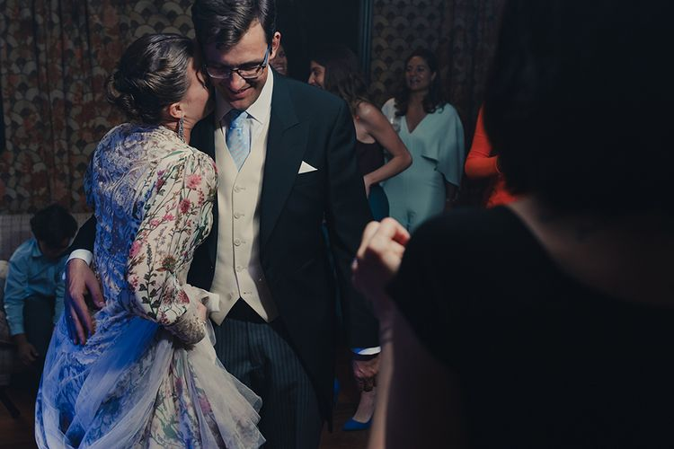 First Dance with Bride in Floral Print Bespoke Wedding Dress by From Lista With Love and Groom in Traditional Morning Suit