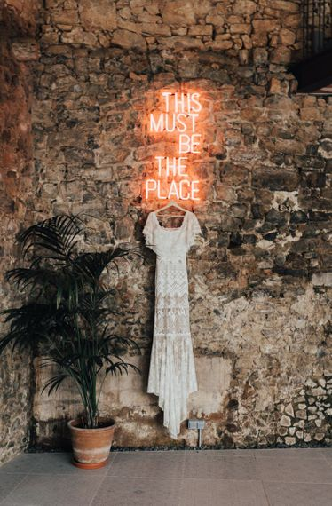 This Must Be The Place Neon Wedding Sign and Grace Loves Lace Wedding Dress
