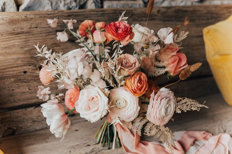Living Coral, Peach and White Wedding Bouquet Ties with Ribbon