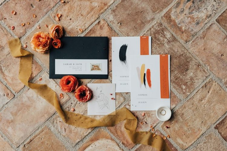 Contemporary Wedding Stationery with Bold Lettering and Minimalist Design