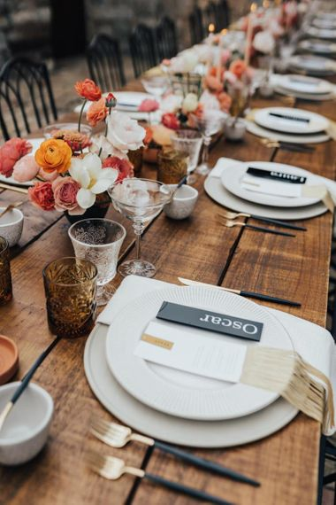 Place Setting with Acrylic Name Place Signs