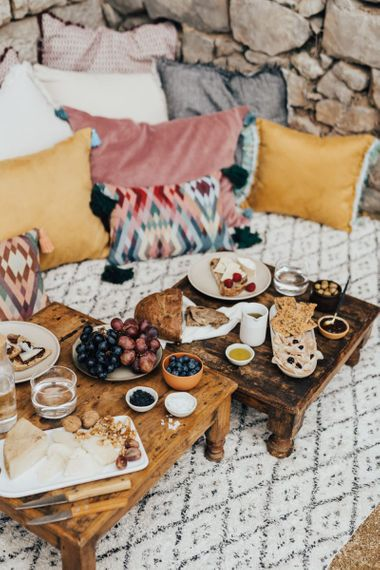 Intimate Seating Are with Sharing Platter