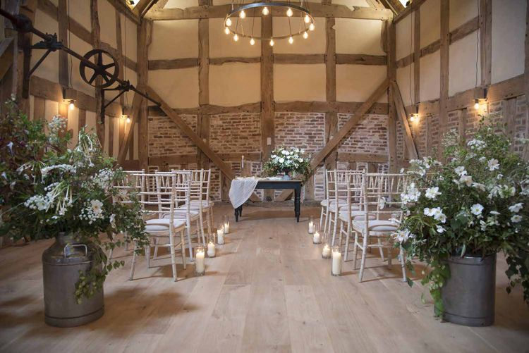 Minimal white ceremony at Barns & Yard
