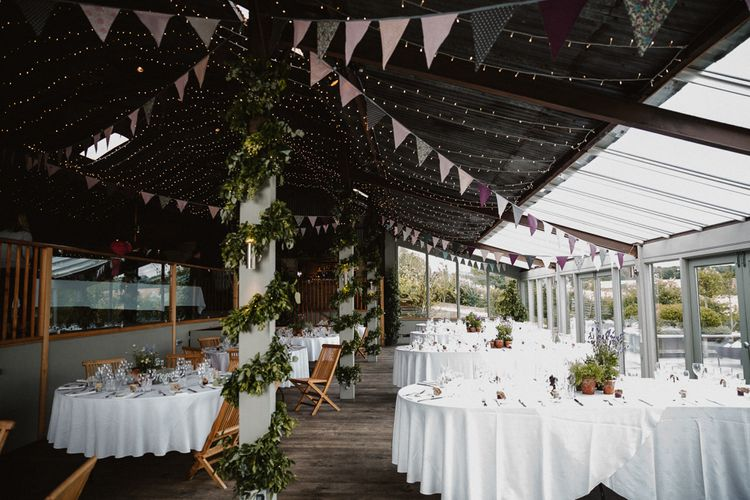 Sone Barn Barn Venue Wedding Reception  with Fairy Lights &  Bunting Decor