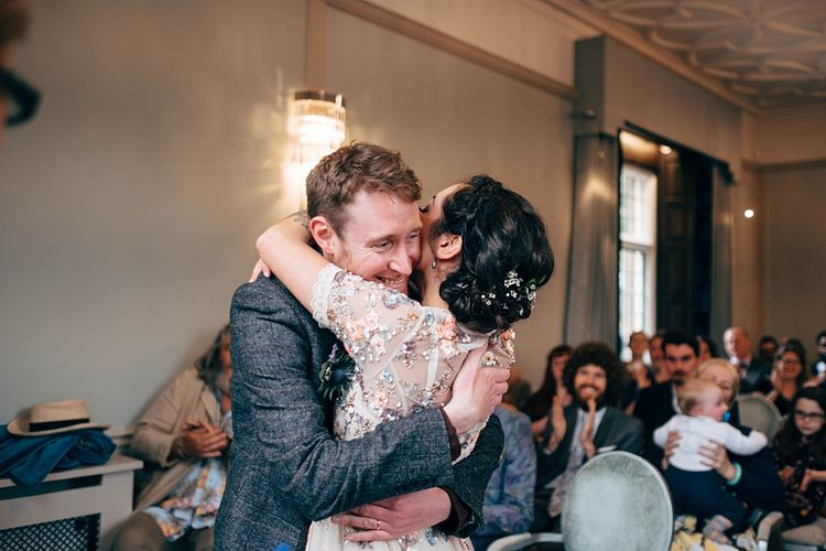 Registry Office Wedding Ceremony // Beautiful DIY Village Hall Wedding For Under £5k // Guests Made Food // Bride Wears Needle & Thread // Images By Dale Weeks Photography