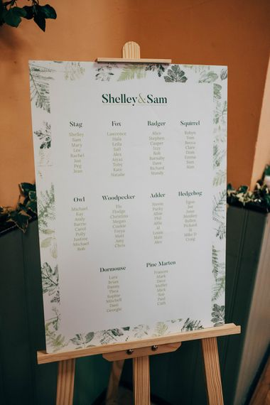 Green Leaf Motif Table Plan // Beautiful DIY Village Hall Wedding For Under £5k // Guests Made Food // Bride Wears Needle & Thread // Images By Dale Weeks Photography