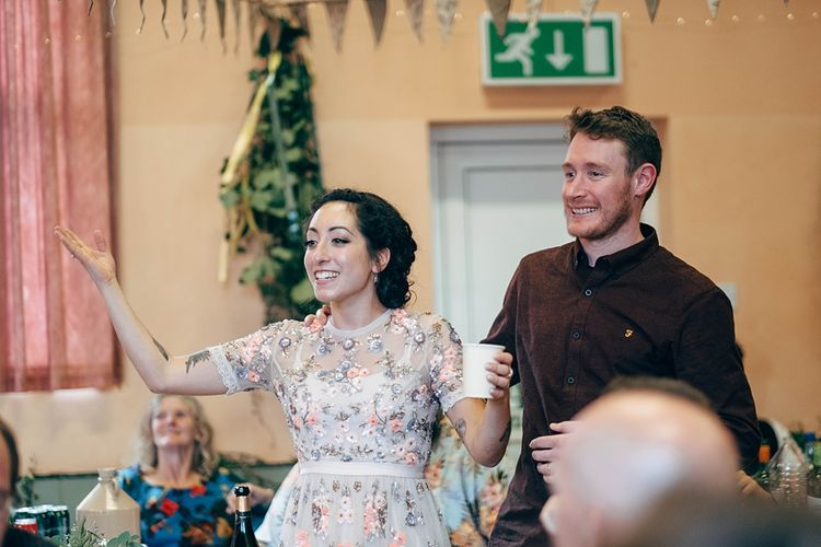 Beautiful DIY Village Hall Wedding For Under £5k // Guests Made Food // Bride Wears Needle & Thread // Images By Dale Weeks Photography