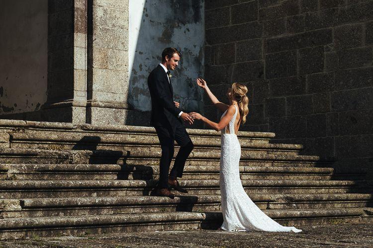 Bride in Pallas Couture Esila Wedding Dress and  Groom in a Monokel Tuxedo