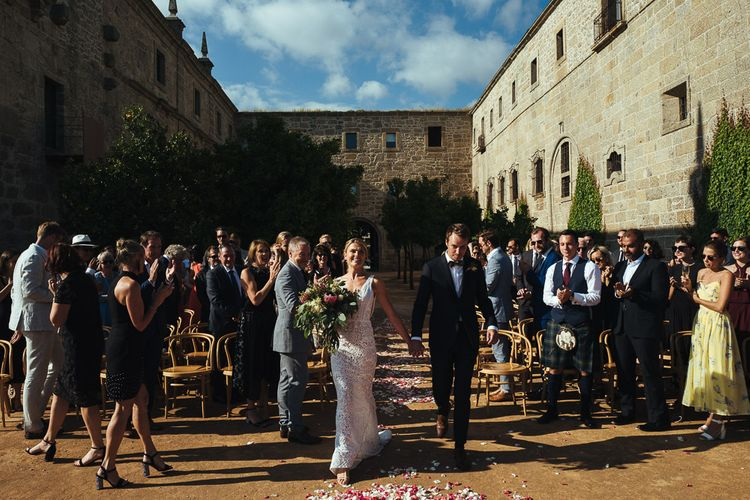 Outdoor Wedding Ceremony with Bride in Pallas Couture Esila Wedding Dress and  Groom in a Monokel Tuxedo at Former Cisterian Monastery, Pousada de Amares in Portugal