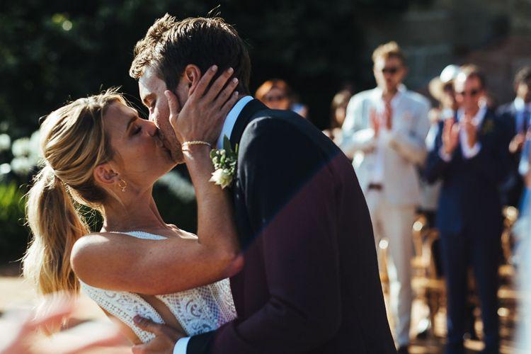 Wedding Ceremony with Bride in Pallas Couture Esila Wedding Dress and  Groom in a Monokel Tuxedo