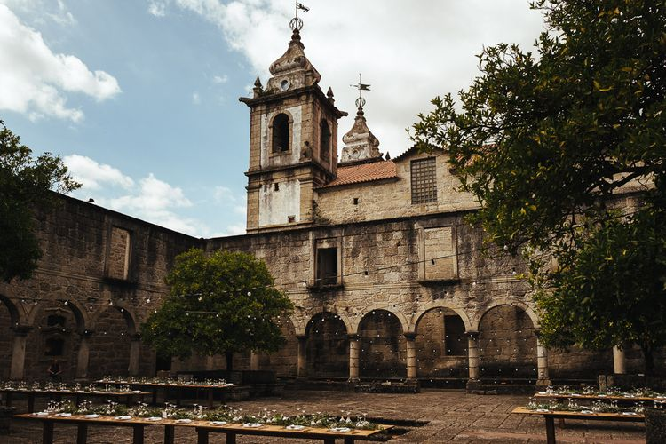 Outdoor Wedding Reception at Former Cisterian Monastery, Pousada de Amares in Portugal