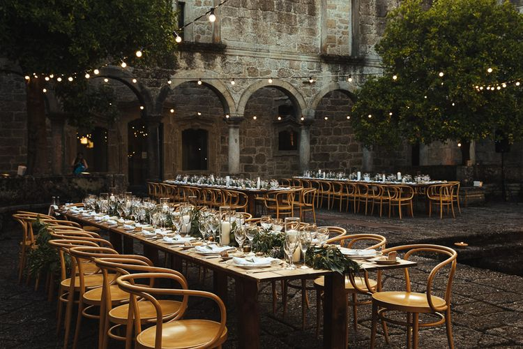 Elegant Tablescape with Greenery Garland and Candles